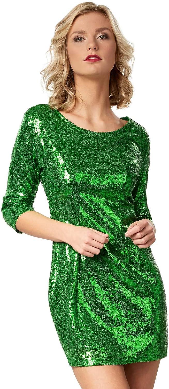 dressforfun 900892 Kurzes Damen Pailletten Glitzer Kleid Diverse Gr/ö/ßen - Langarm S   dunkelrot   Nr. 303796 Tr/ägerkleid