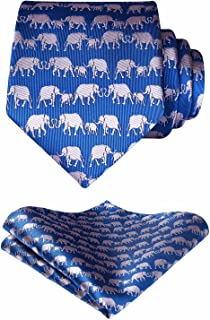 HISDERN Animal Patterns Prom Party Tie Men's Necktie & Pocket Square Set