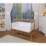 WALDIN Baby,Lettino culla,altezza regolabile,paracolpi e materasso,in 8 varianti, naturale,bianco