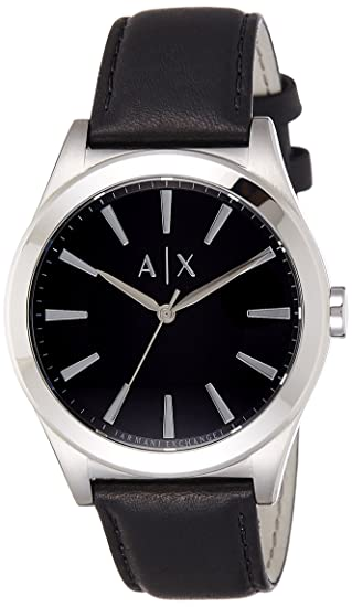 c125645b Amazon.com: Armani Exchange Men's AX2323 Black Leather Watch: Armani ...