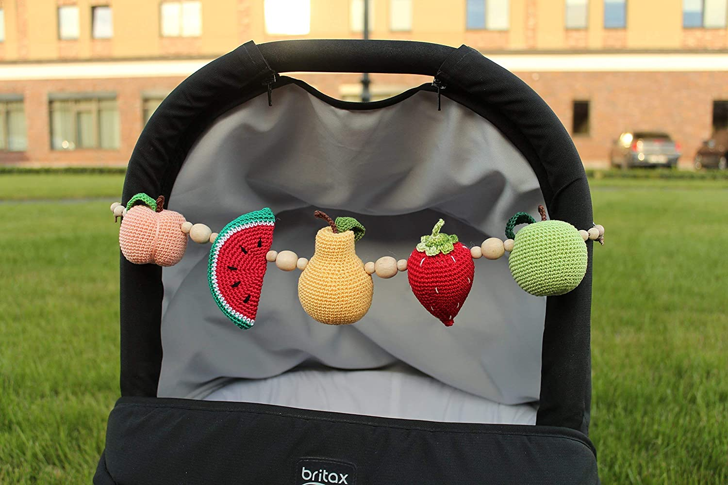 Pram mobile, stroller mobile, crochet fruits garland, baby rattle, pram decoration, stroller mobile, string mobile