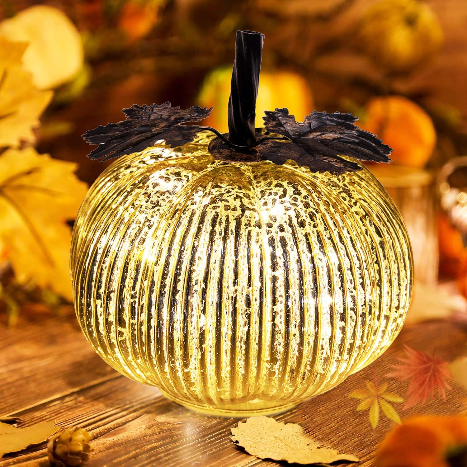 Keepax Mercury Glass Pumpkin Lights Fall Decor, Battery Operated LED Timer 5.5 Inches Pumpkins Décor (Gold)
