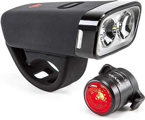 Mevel Cruiser - Juego de Luces para Bicicleta Recargables por USB, luz Trasera LED incluida, Faro Delantero ultrabrillante, se Adapta a Todas Las Bicicletas, fácil de Instalar y de liberación rápida: Amazon.es: