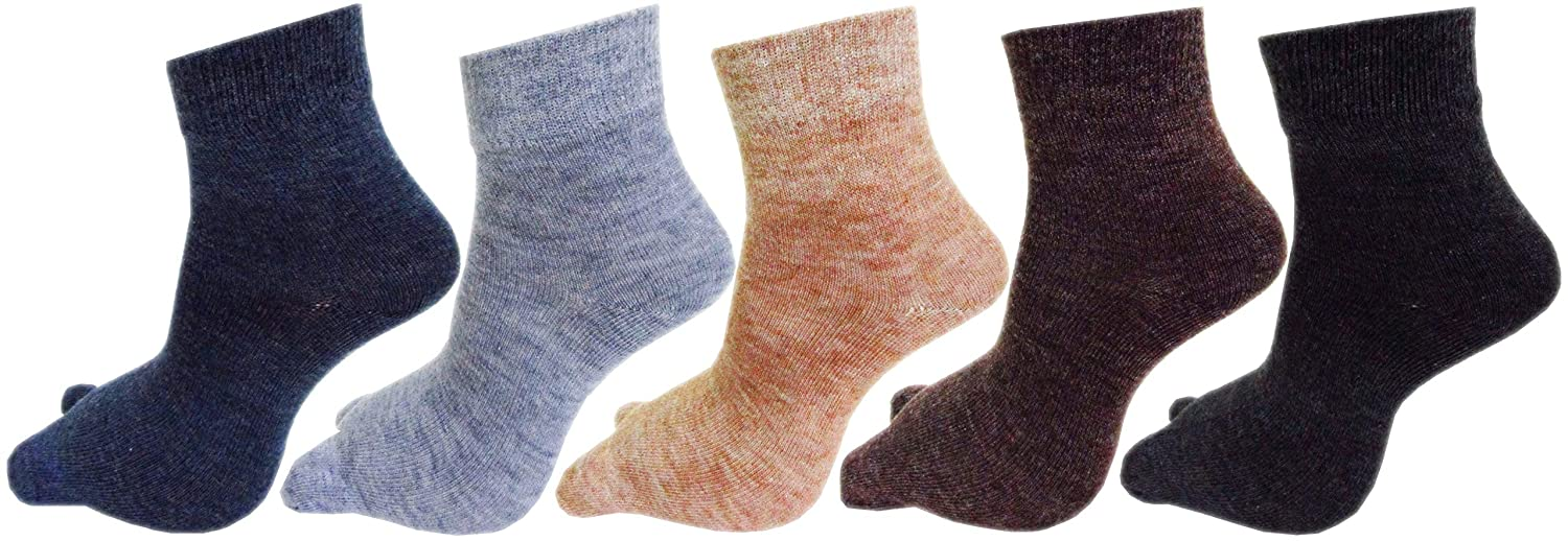 RC. ROYAL CLASS Women's Woolen Ankle Length Multicolored Socks (Pack of 5 Pairs)