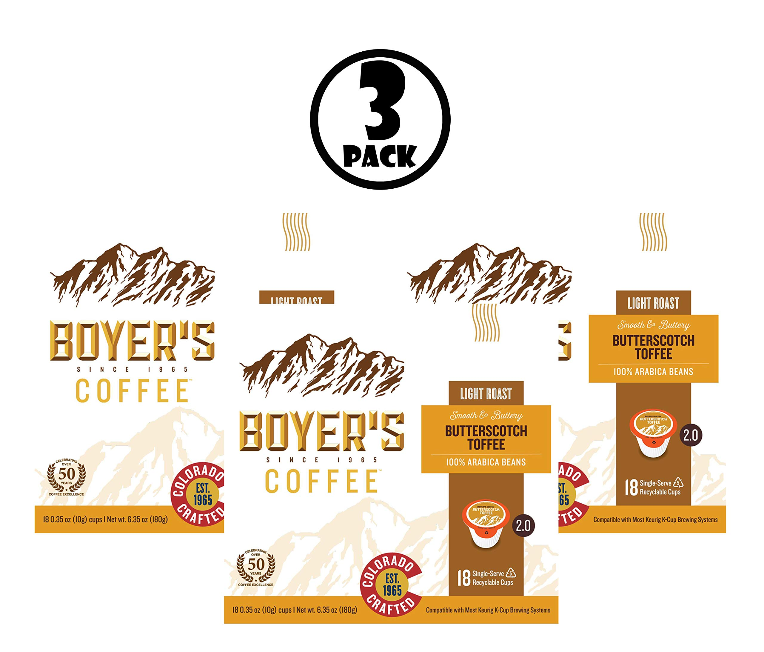 (3 Pack) Boyer's Butterscotch Toffee Single Serve Coffee, 18 Ct by Boyer's Coffee