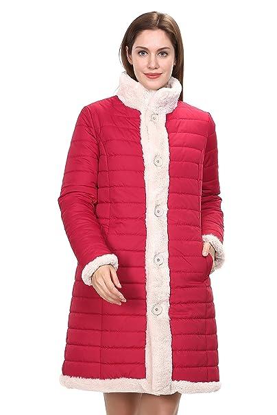 Adelaqueen Mujeres Nuevo estilo de Invierno Reversible Abajo abrigo de longitud Faux Fur Coat