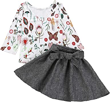 Toddler Kids Baby Girl Long Sleeve Tops Floral Dress Skirt Outfits Set Clothes