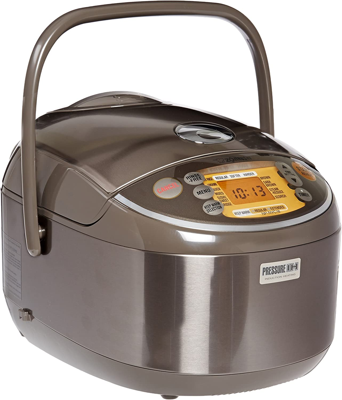 Zojirushi Induction Heating Pressure Rice Cooker & Warmer 1.8 Liter, Stainless Brown NP-NVC18 (Renewed)