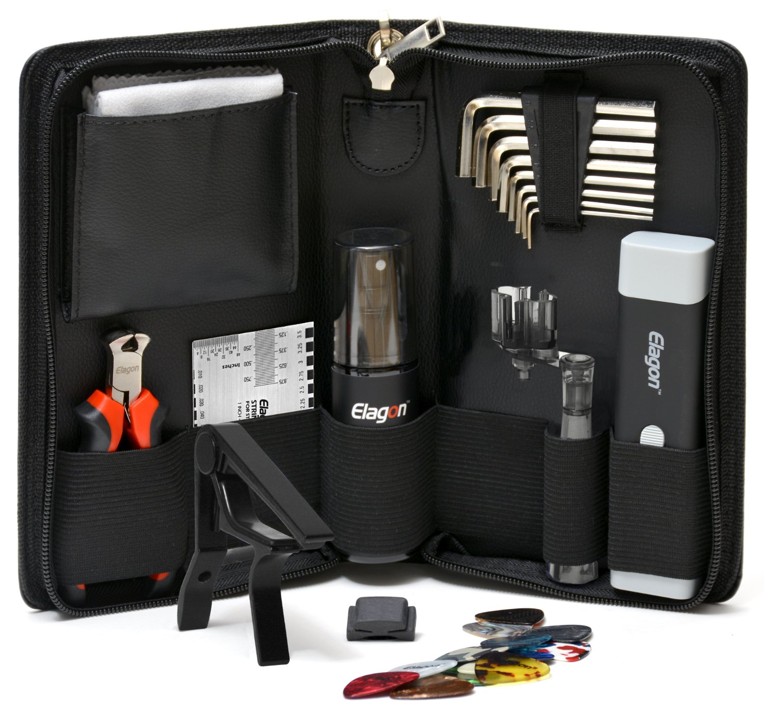 Elagon (STC+5) Pro Care Kit - Top Quality Guitar Cleaning and Maintenance Kit Containing all the Essential Guitar Tools to Keep Your Guitar Clean and Properly Set Up For Best Playing Smoothness and Speed! The Perfect Kit in a Practical Pouch for Use at Hom