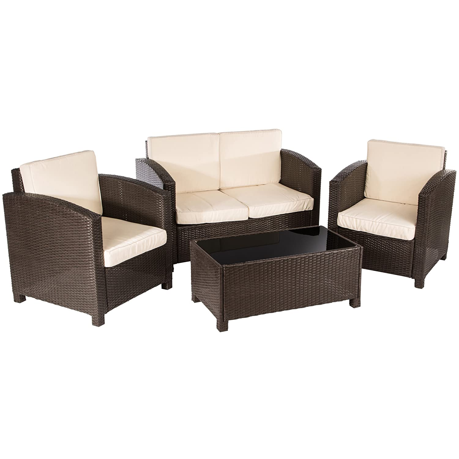 Ultranatura poly rattan lounge sitzgruppe palma serie 4 for Tisch couch