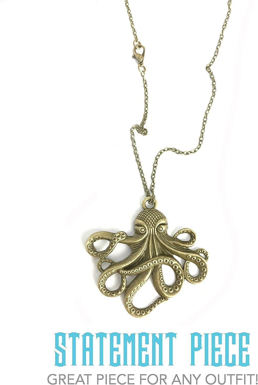 Victorian Style Octopus Squid Steampunk Pendant Necklace Kraken 3358