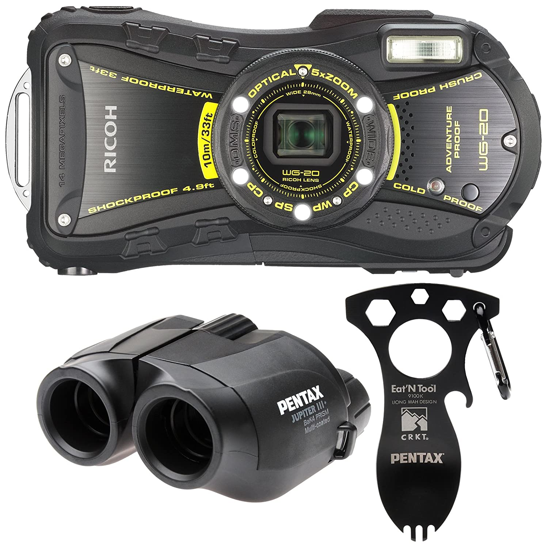 Ricoh wg-20 14 MP waterproofp、耐衝撃、Coldproof、Crushproofと防塵5 x光学ズームデジタルカメラアドベンチャーキット(ブラック) B00LI0V53W