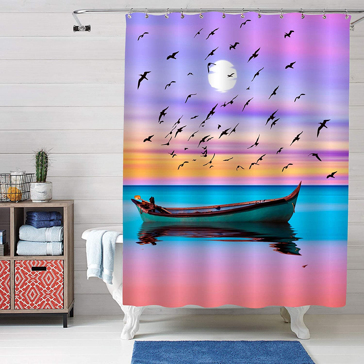 Turquoise White Artistic Hand Painting Bright Waterlily Art Deco Shower Curtain for Spa Spiritual Relaxation Decor MitoVilla Realistic Lotus Flower Shower Decorations 72 W by 72 L