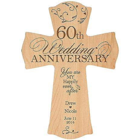 Amazon.com: Personalized 60th Wedding Anniversary Wood Wall Cross ...