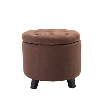 Phenomenal Nb Liner Upholstered Tufted Round Storage Ottoman Vanity Chair Pouf Ottoman Brown Machost Co Dining Chair Design Ideas Machostcouk