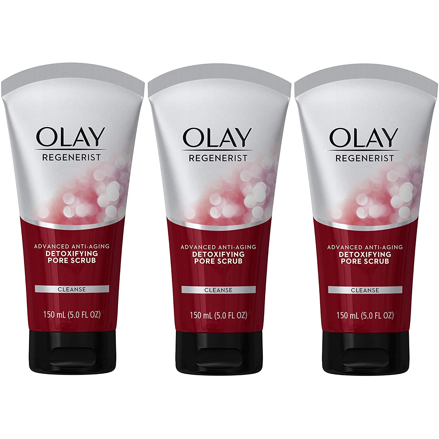 Facial Cleanser by Olay Regenerist, Detoxifying Pore Scrub & Exfoliator, 5 Oz (Pack of 3): Beauty