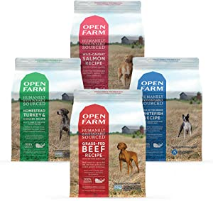 Open Farm Grain Free Dry Dog Food Bundle with Grass-Fed Beef, Catch-of-The-Season Whitefish, Wild-Caught Salmon and Homestead Turkey and Chicken, 4 Pack Bundle