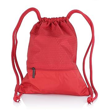 zenwow cordón bolsa – deportes resistente al agua PE – Bolsa para la escuela mochila de deporte bolsa de natación Negro con gran bolsillo con ...