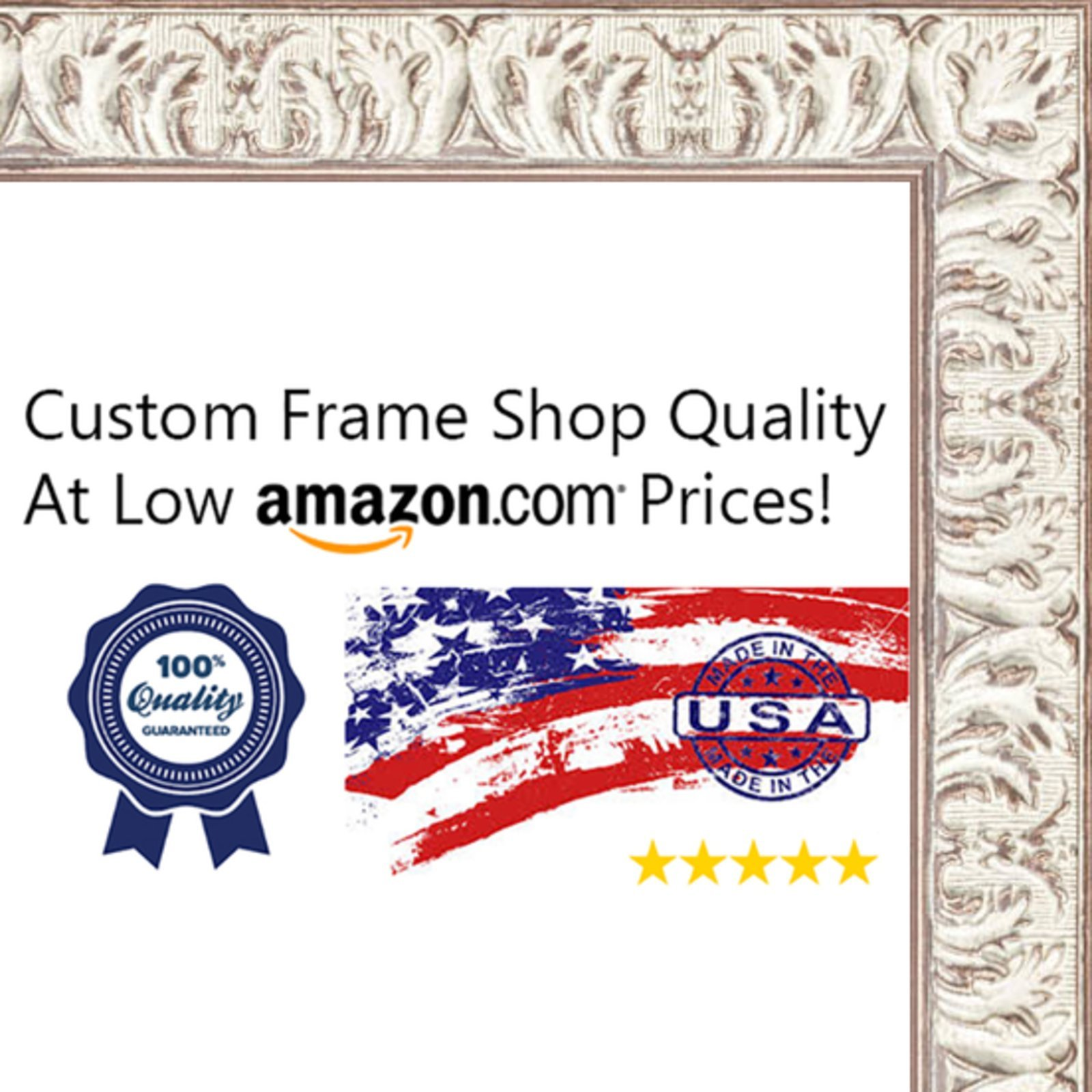 32x32 Ornate White Washed Wood Picture Square Frame - UV Acrylic, Foam Board Backing, & Hanging Hardware Included!
