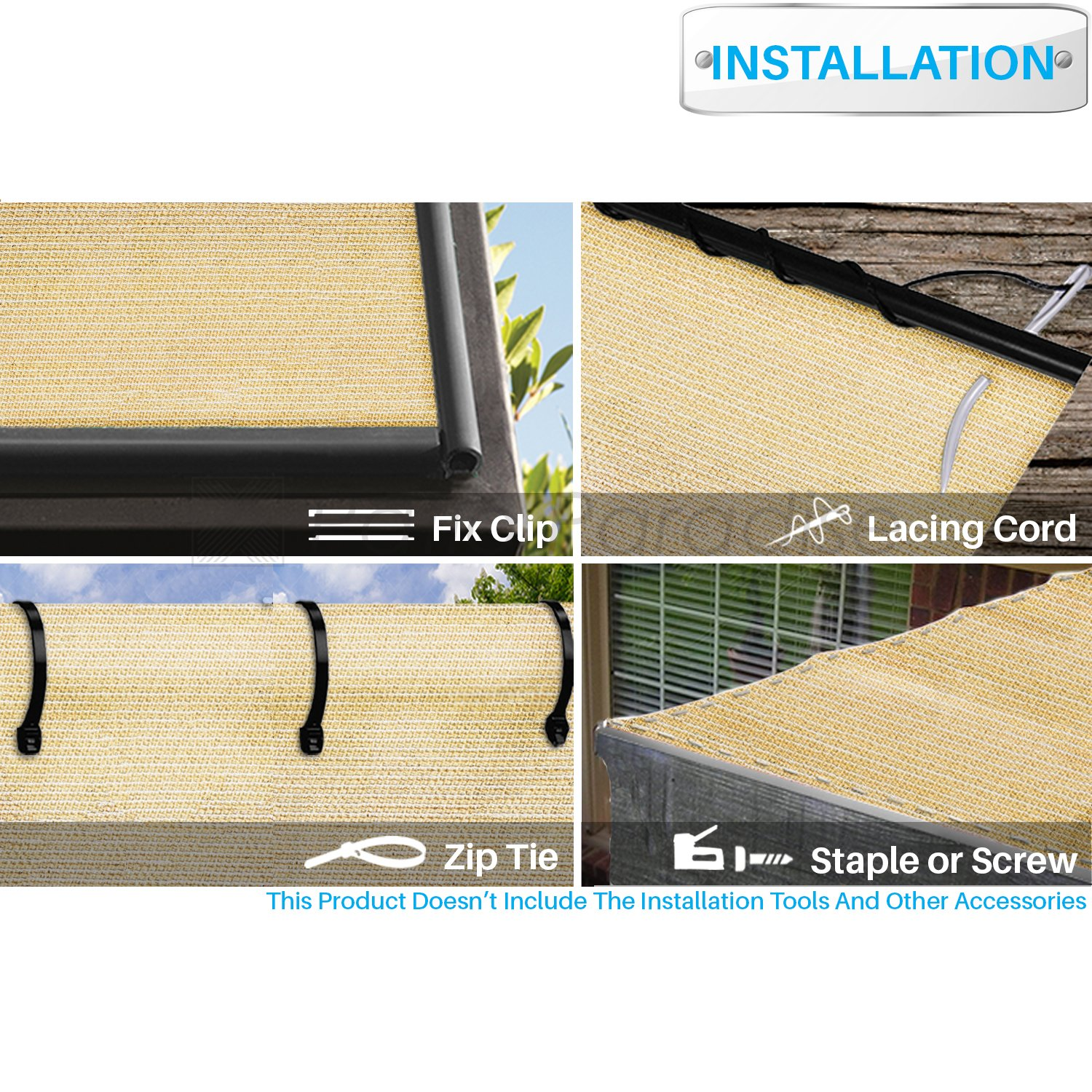 Patio Paradise 16 x 1 Sunblock Shade Cloth Roll,Beige Sun Shade Fabric 95/% UV Resistant Mesh Netting Cover for Outdoor,Backyard,Plant,Greenhouse,Barn
