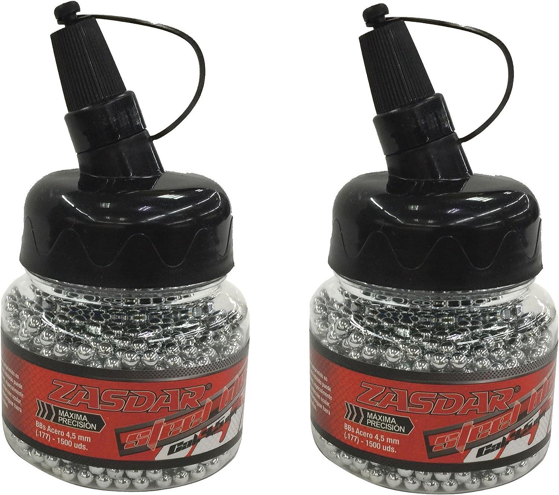 Outletdelocio. Pack 2 biberones Bolas Acero Zasdar Steel BBS (4,5mm) 1500 Piezas Cada Unidad. 2-23032