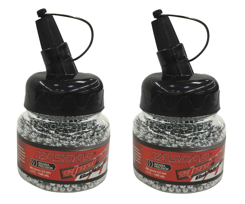 Outletdelocio. Pack 2 biberones bolas acero Zasdar Steel BBs (4, 5mm) 1500 piezas cada unidad. 2-23032