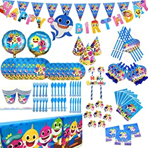 152 Pcs Baby Cute Shark Party Favor Party Decorations Birthday Party Supplies, Flatware, Spoons, Fork, Knife, Plates, Cups, Straws, Table Covers, Banner, Napkins Blowouts, Balloon, Cake Toppers, Pennant, Tablecloth Birthday Party Favor Pack Set for Kids Boy