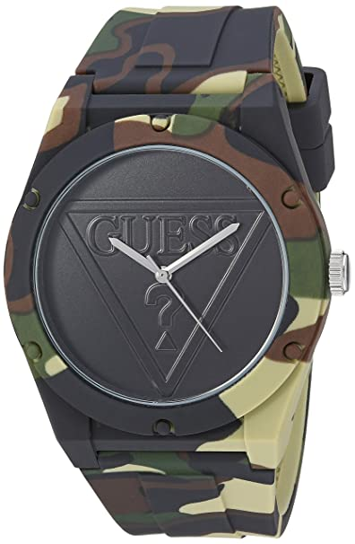 Amazon.com: GUESS Womens Stainless Steel Quartz Silicone Strap, Green, 20 Casual Watch (Model: U0979L16: Watches