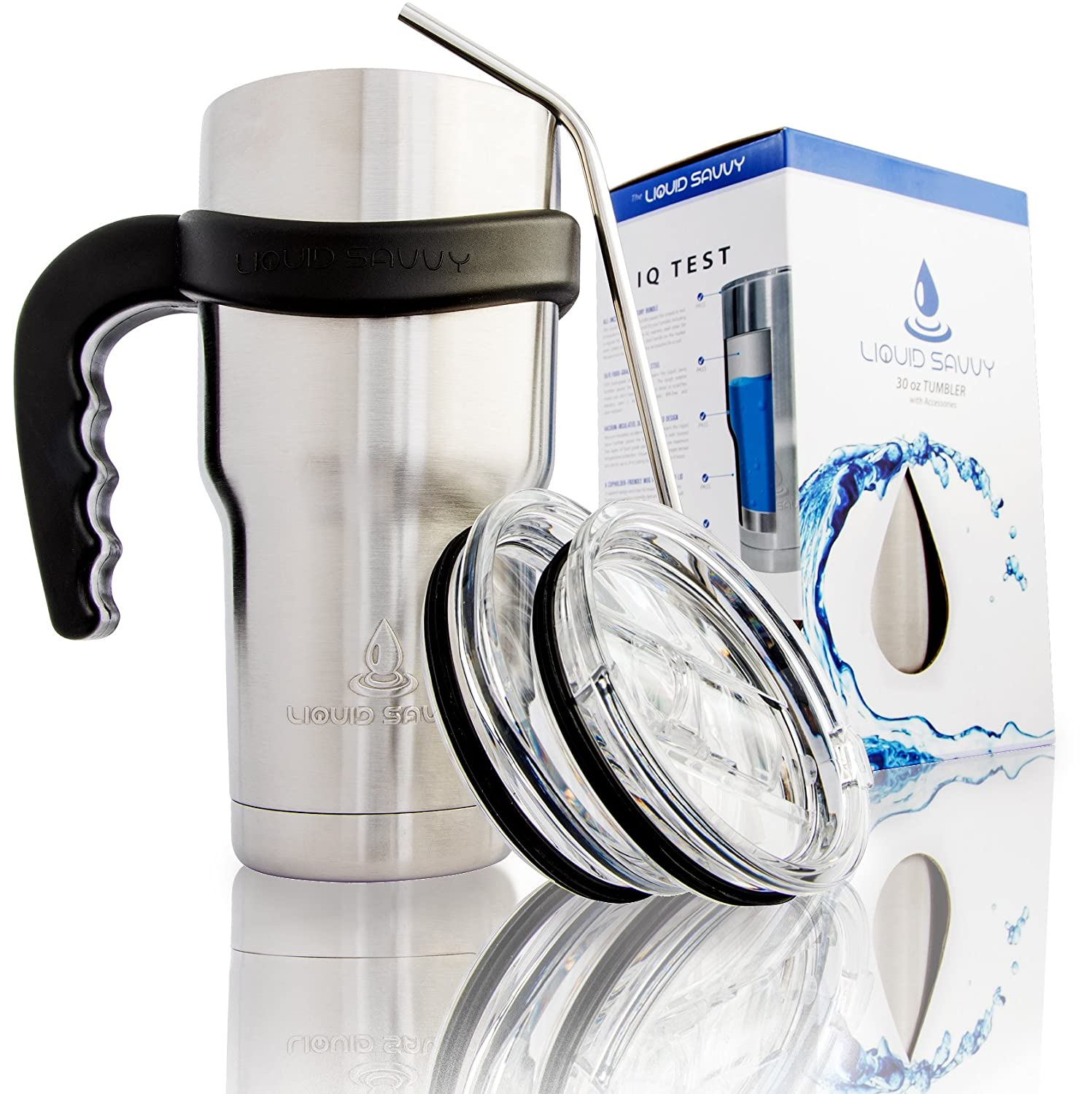 bb58effe059 Liquid Savvy 30oz Stainless Steel Tumbler Bundle - Includes Tumbler, 2  Lids, Straw, and Handle - Double Walled Vacuum Insulated Tumbler for Hot  and Cold ...