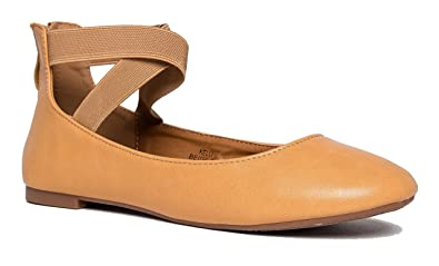 J. Adams Elastic Cross Strap Slip On - Comfortable Closed Toe Ballet - Low  Ankle