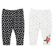 Lamaze Baby Girls Organic 2 Pack Pants, White, 3M