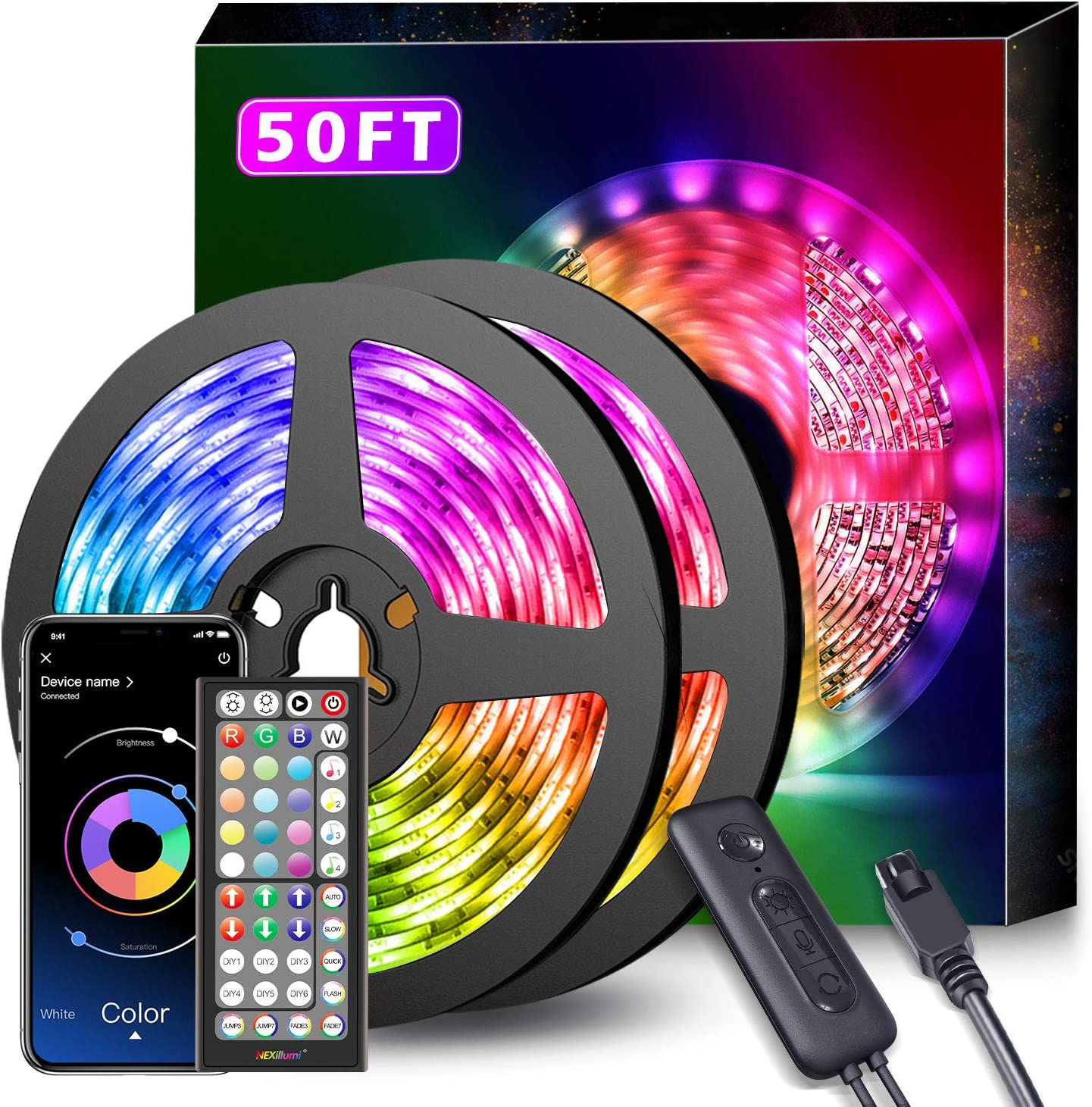 Lepro 50Ft Led Strip Lights Ultra-Long Rgb 5050 Led Strips With Remote Controll