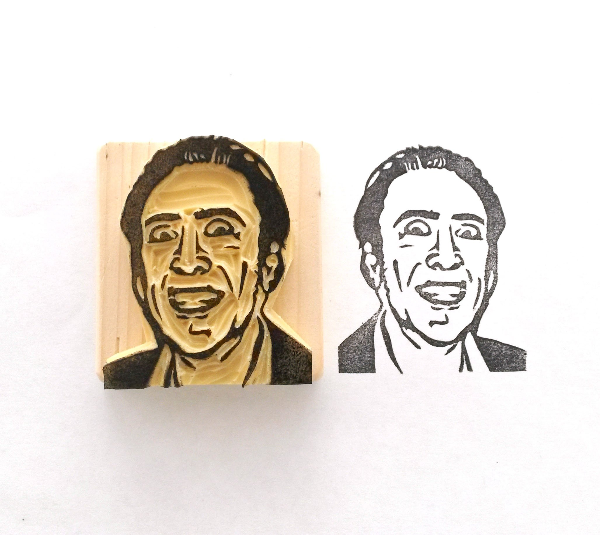 Nic Cage - Hand carved rubber stamp