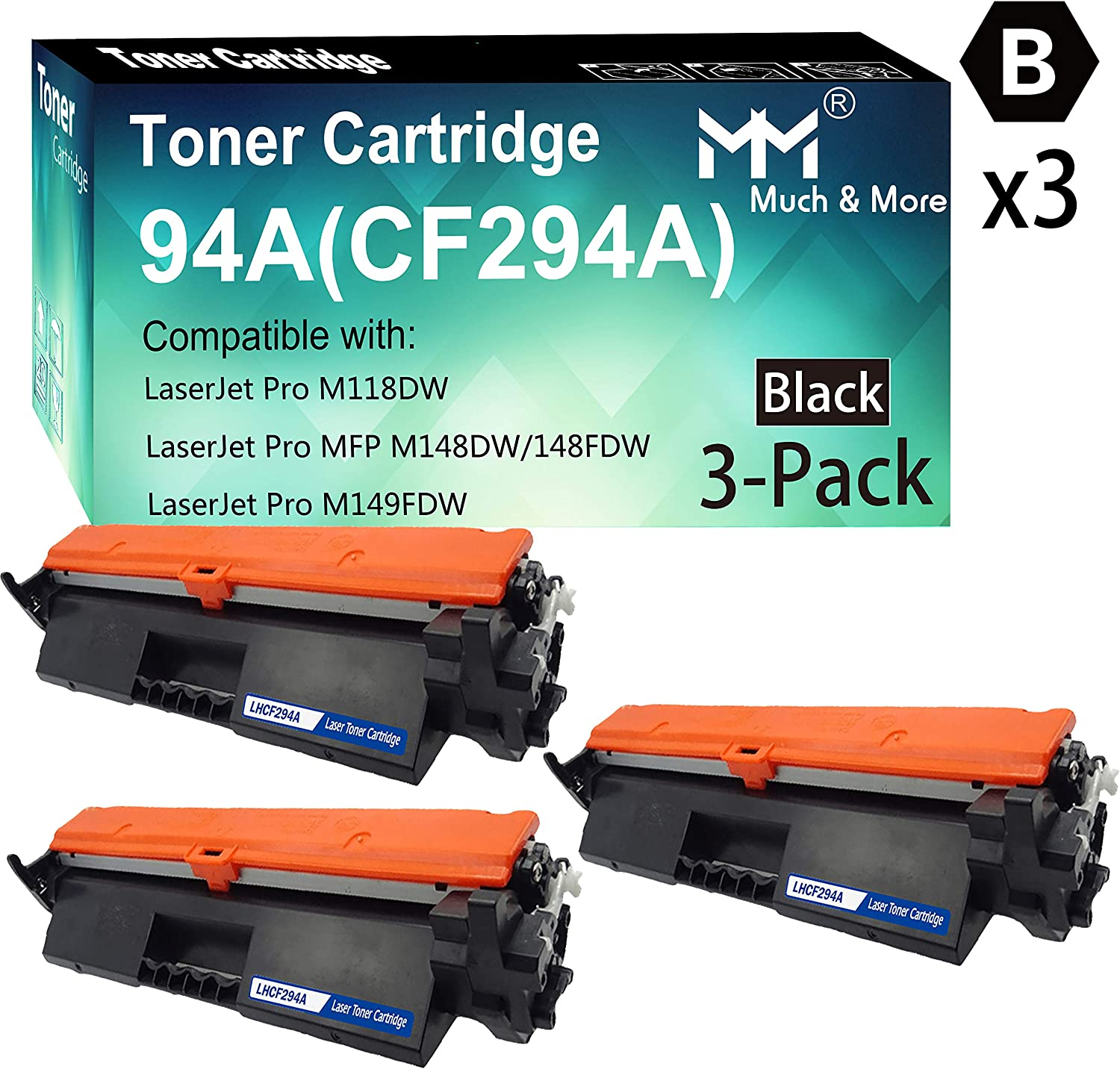 3-Pack Compatible CF294A 294A Toner Cartridge 94A Used for HP Laserjet Pro M118DW MFP-M148DW 148FDW M149FDW M149FDW Printer, Sold by MuchMore
