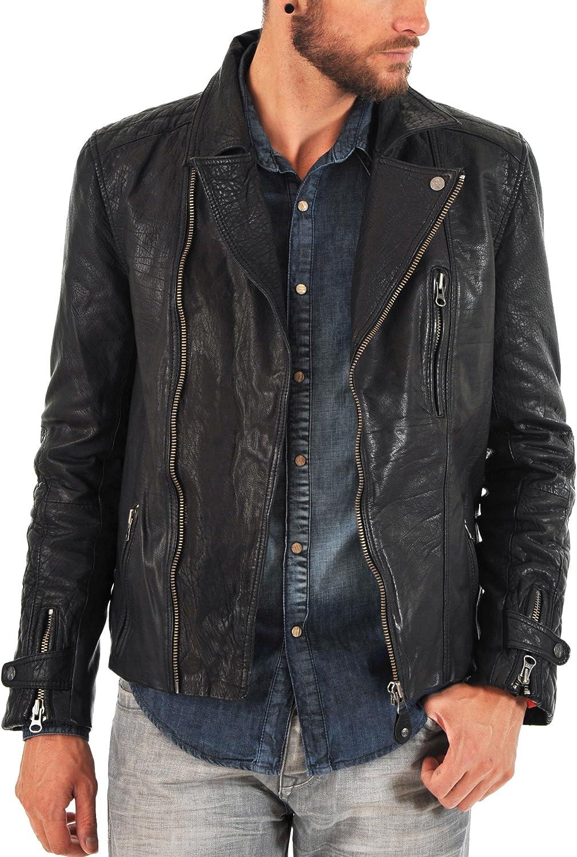 New Mens Genuine Lambskin Leather Jacket Slim fit Biker Motorcycle Jacket N115