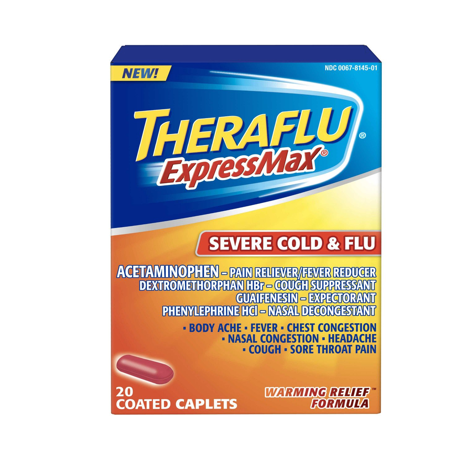 Theraflu ExpressMax Severe Cold & Flu Warming Relief Formula Coated Caplets  for Cold & Flu Relief, 20 count
