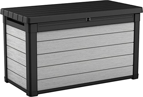 KETER Denali 100 Gallon Resin Large Deck Box for Patio Furniture Cushion Storage, Grey Black