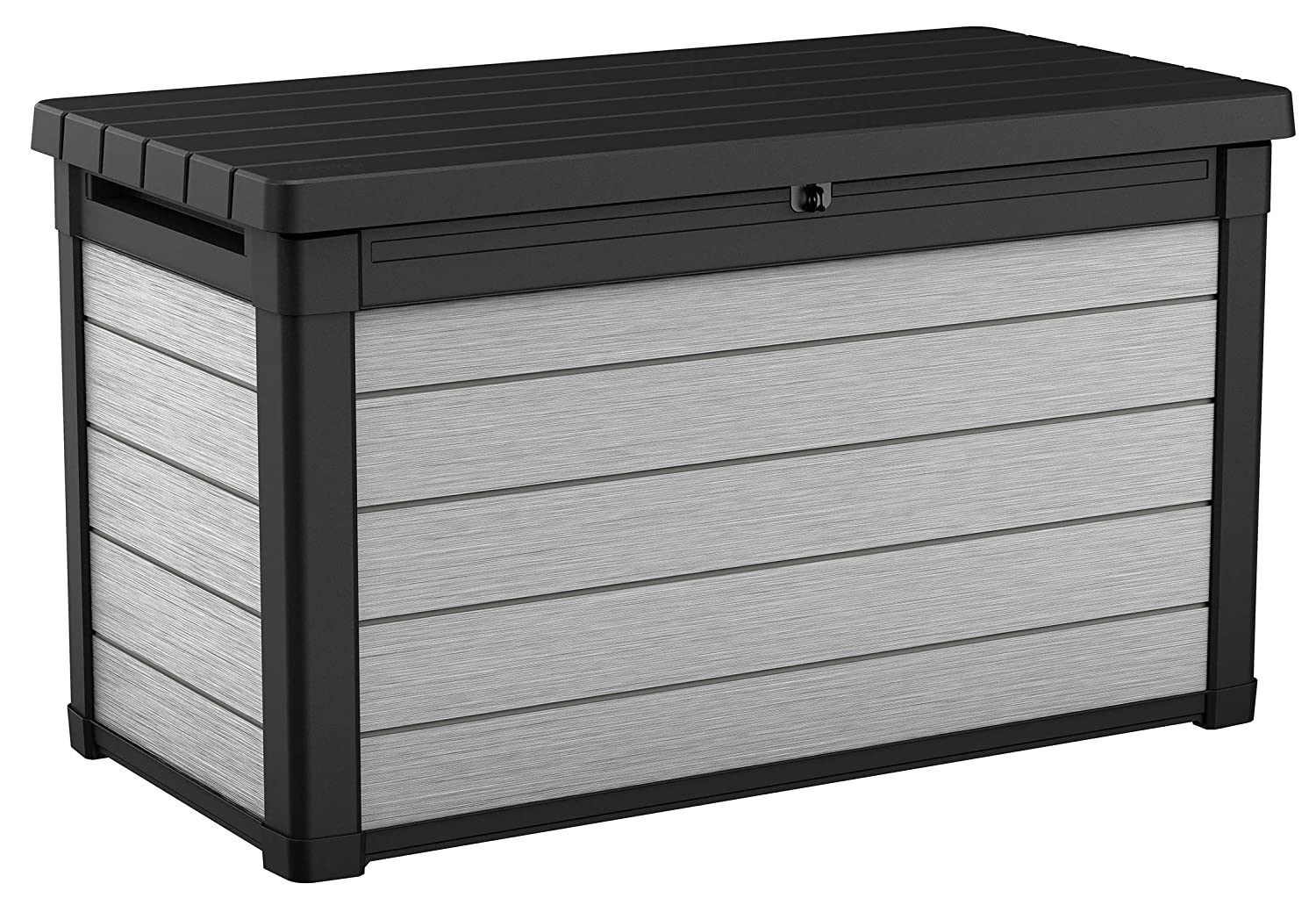 Keter 240302 Denali 100 Gal All Weather Outdoor Storage Deck Box, Grey/Black