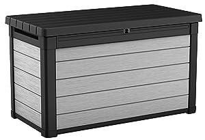 Keter 240302 Denali 100 Gal All Weather Outdoor Storage Deck Box, Grey/Black