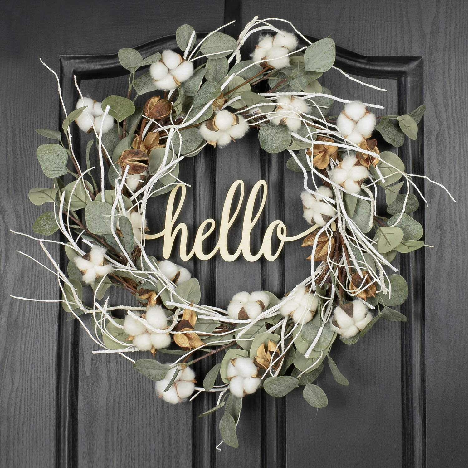 QUNWREATH 22 Inch Cotton Wreath,Wreath Front Door,Eucalyptus Wreath,Hello Wreath,Farmhouse Wreath,Everyday Wreath