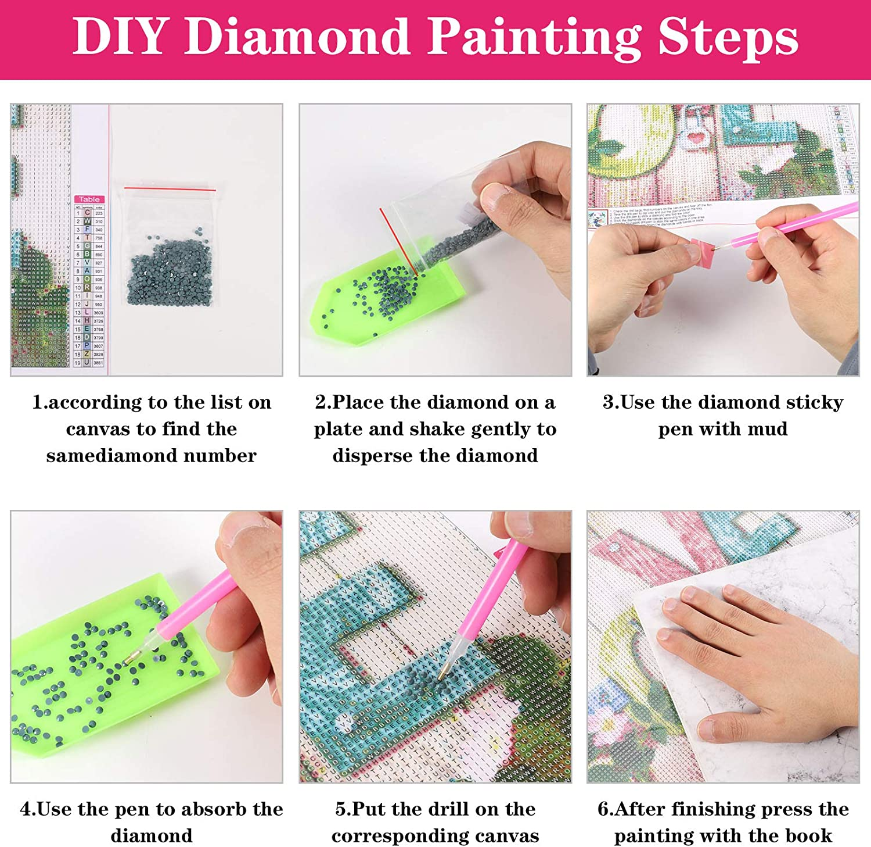 kit de Bordado de Arte de Diamante fanshiontide 2 Piezas Kits de Bricolaje de Pintura de Diamante 5D Arte de Punto de Cruz de Diamante 11,81x15,75 Pulgadas