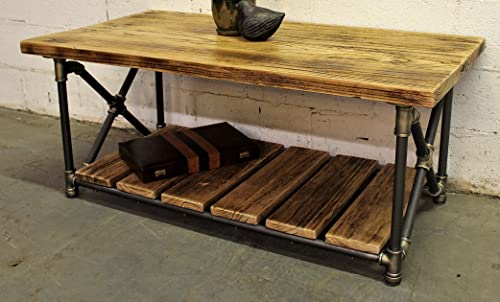 FURNITURE PIPELINE Rustic Rectangle Coffee Table, Metal with Reclaimed Aged Wood Finish, Grey Steel Pipes and Brass Fittings with Natural Stained Wood