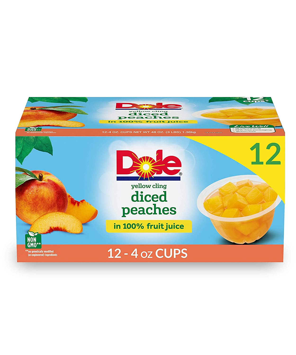 Dole Fruit Bowls, Diced Peaches in 100% Fruit Juice, 12 Count, 4 Ounce Cups