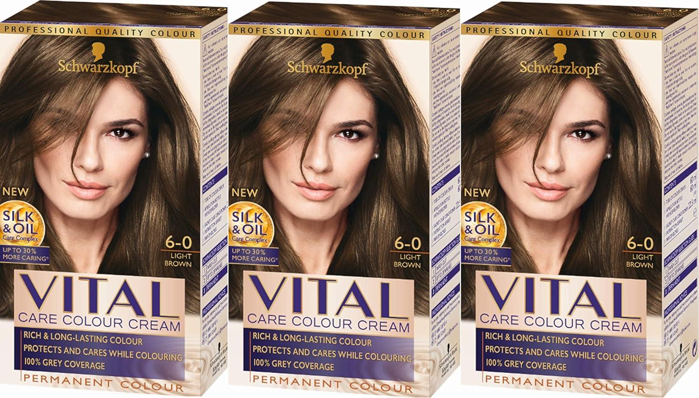 Tinte permanente para cabello Castaño claro 60 (Paquete de 3 unidades) para castaño claro.