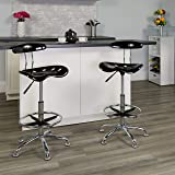Flash Furniture Vibrant Black and Chrome Drafting Stool with Tractor Seat