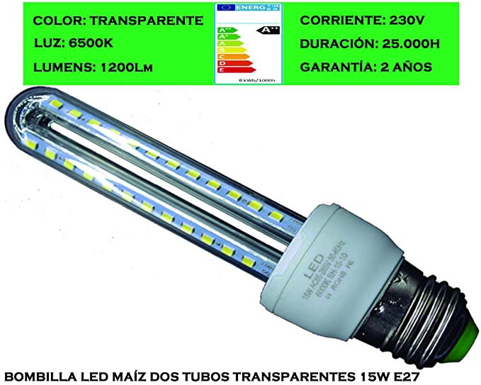 Tubombiled - Bombilla LED Dos Tubos Transparentes 15W E27 Luz Fría 6500K (El paquete contiene