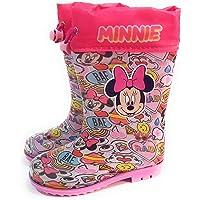 Botas Agua Minnie Mouse para niñas - Botas Agua Disney con Suela Antideslizante y Cuello con Cierre Ajustable