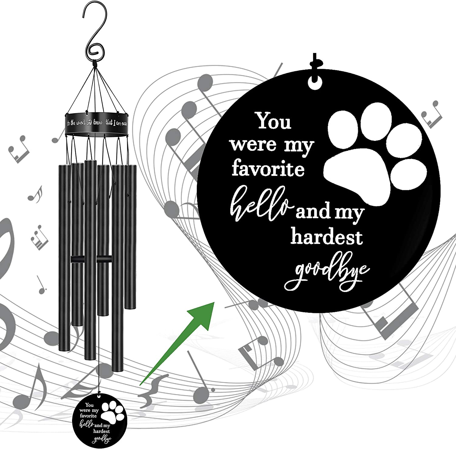 MEMGIFT Pet Memorial Wind Chimes for Loss of Dog Cat Paw Print Sympathy for Wife Girlfriend Large Metal Deep Tone Windchimes Dog Rememberance Déco Outside Garden Listen to The Wind and Know I Am Near