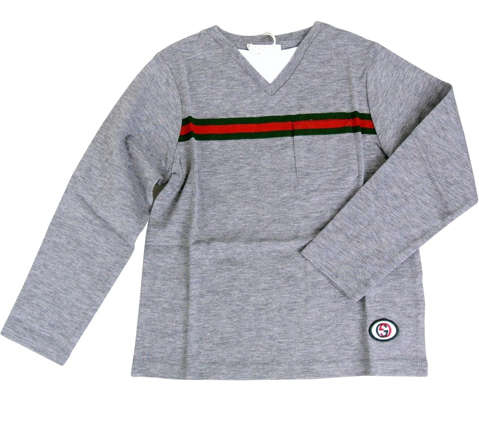 Gucci Gray Cotton GRG Web Interlocking G Long Sleeve Top T-Shirt 271373 (3)