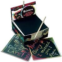Melissa & Doug Scratch Art Caja de mini notas con diseños arco iris, artes y manualidades, lápiz de madera, 125 unidades, 9.525 cm alto x 9.525 cm ancho x 4.445 cm largo
